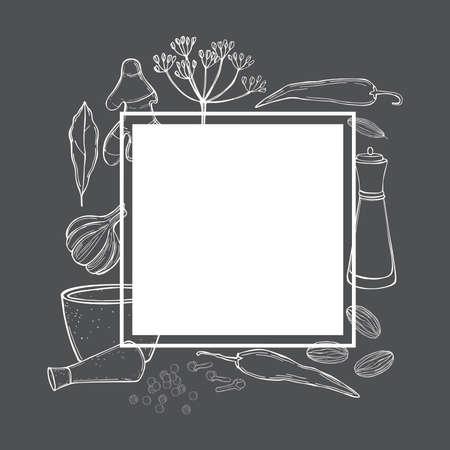 Vector frame with hand drawn spices and herbs. Sketch illustration. Vektoros illusztráció