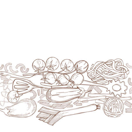 Vector background with hand drawn pasta and vegetables on white background. Italian food. Sketch illustration.