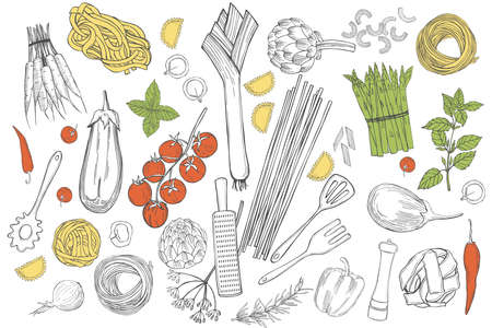 Vector set with hand drawn pasta and vegetables on white background. Italian food. Sketch illustration.