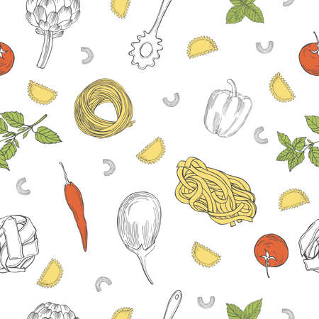 Vector seamless pattern with hand drawn pasta and vegetables on white background. Italian food. Sketch illustration.