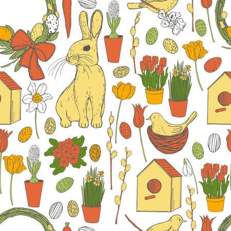 Vector seamless pattern with Easter Bunny and spring flowers. Sketch illustration. Ilustração