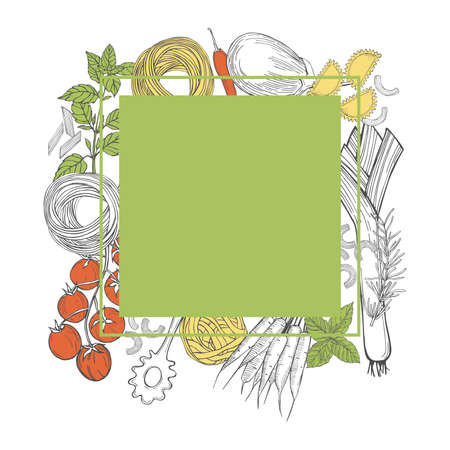Vector frame with hand drawn pasta and vegetables on white background. Italian food. Sketch illustration.