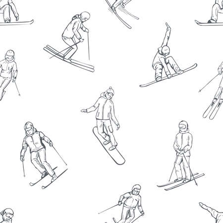 Hand drawn snowboarders and skiers. Vector seamless pattern.