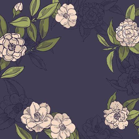 Hand drawn camellia flowers. Vector background. Sketch illustration. Vector Illustratie