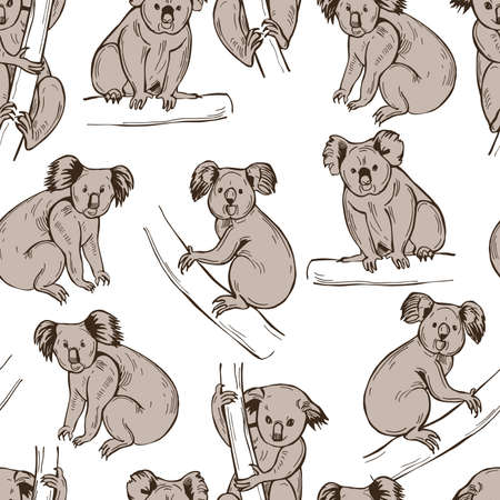 Hand drawn koala (Phascolarctos cinereus). Vector seamless pattern.