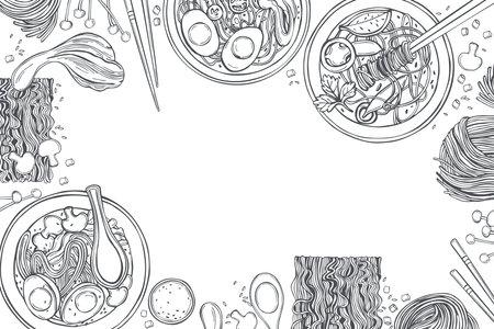 Hand drawn Asian noodle soup. Ramen set. Vector background. Sketch illustration.