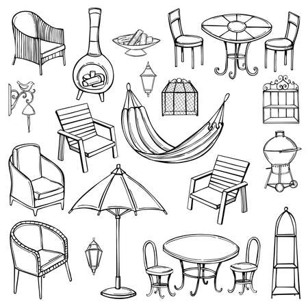 Hand drawn garden furniture. Vector sketch illustration.