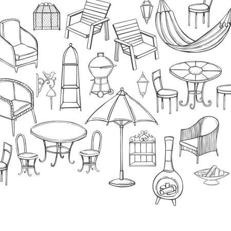 Hand drawn garden furniture. Vector background. Sketch illustration. 向量圖像