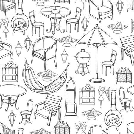 Hand drawn garden furniture. Vector seamless pattern.