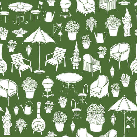 Hand drawn garden furniture. Vector seamless pattern.