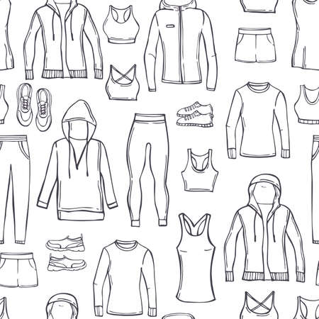 Hand drawn women's clothes for sports and fitness. Sport style shirts, pants, jackets, tops, shorts. Vector seamless pattern.