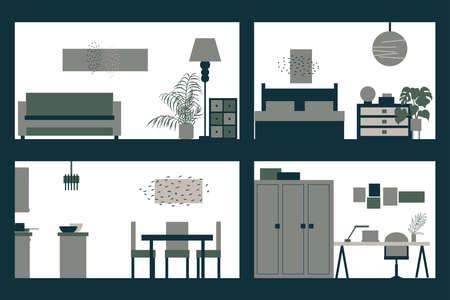 Apartment interior in cut. Vector illustration. Vektorové ilustrace