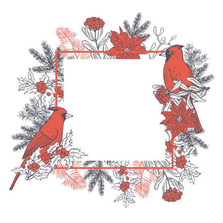 Hand drawn winter birds. Vector frame with red cardinals. Sketch illustration.