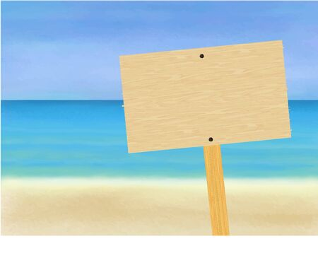 Blank wood sign on a beach Illustration