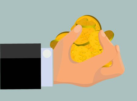 Greedy hand with a grab of gold coins