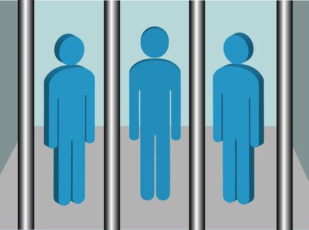 A conceptual illustration of people in jail or prison