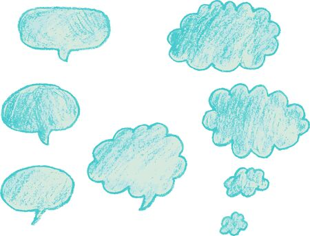 A set of different hand-drawn talk bubbles
