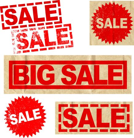 A set of vector sale signs in different styles Illustration