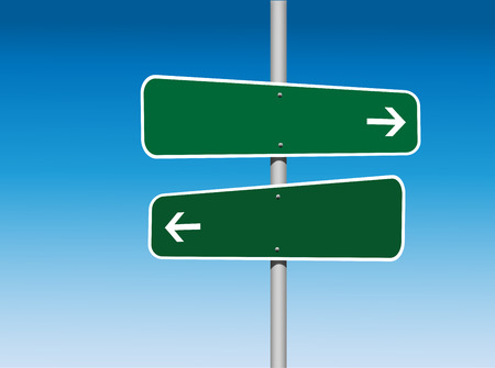 pointed arrows: 2 Panel Blank Directional Green Road Signs Stock Photo