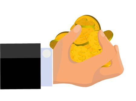grabbing: An illustration of greedy hand grabbing more than a handful of gold coins