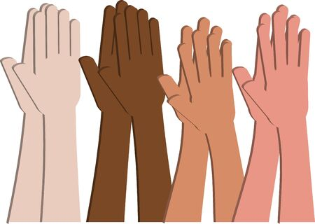 multi racial: Multicultural hands from different ethnicities and races clapping Stock Photo