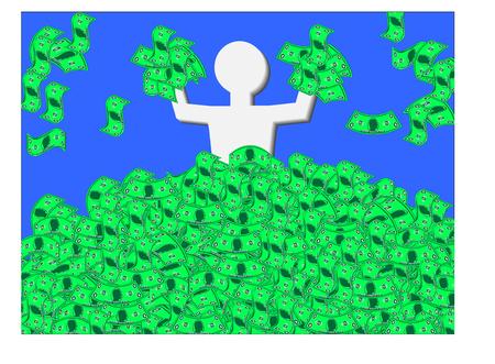show bill: Hombre de j�bilo por la cintura billetes de banco