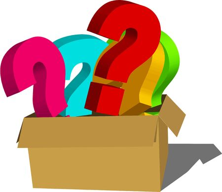 perplexing: Box Full of Question Signs (Isolated on white background)
