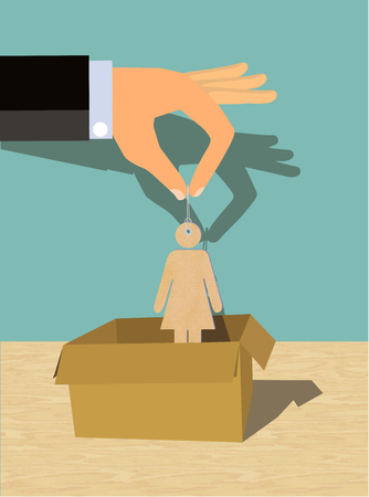 Women Exploitation Human Trafficking - showing a hand of a man pulling up or putting a woman figure into a box Stock Photo