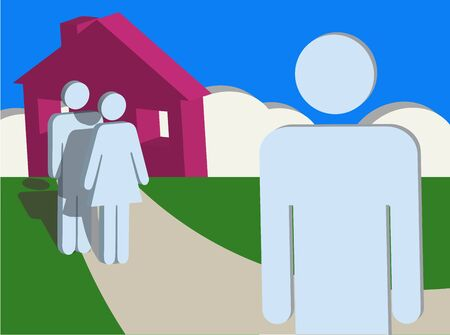 An illustration of a boy or young man leaving his home and family or parents
