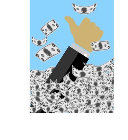 mound: Hand of Man Sticking Out of A Mound of Banknotes Flashing the Thumbs Up Sign