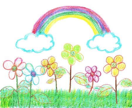 Crayon Drawing Illustration of a rainbow over a garden with flowers