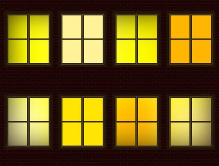3 d illustration: Lighted Apartment Units Windows at Night Illustration