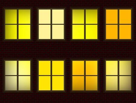 units: Lighted Apartment Units Windows at Night Illustration