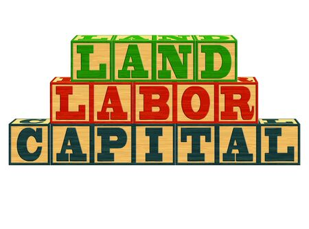 An illustration of Factors of Production - Land, Labor, Capital on Alphabet Blocks