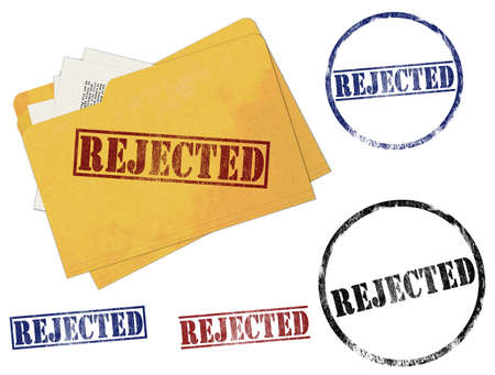 reject: An illustration of Rejected Rubber Stamp Marks Stock Photo