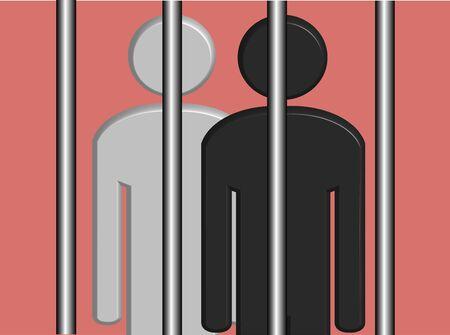 prison system: An illustration of Black and White Prisoners