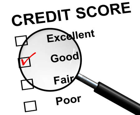 score under: An illustration of good credit score under a magnifying glass