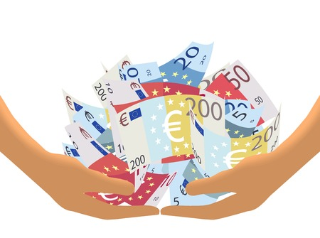 bank notes: Hands Lifting A Heap of Euro Bank Notes Isolated on white background