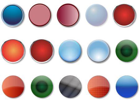fifteen: A Set of Fifteen Round Web Buttons in 3D