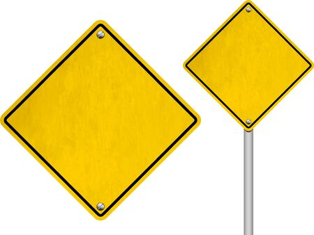 diamond shaped: Blank Yellow Diamond Shaped Road Signs Isolated on White Background
