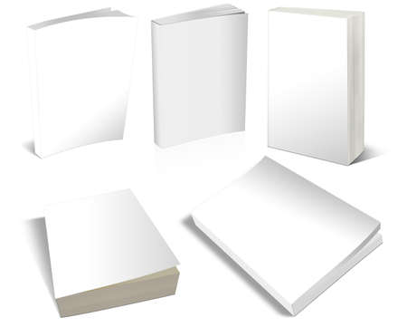 3 dimensional: Set of books rendered in 3 dimensional or 3D with blank white covers