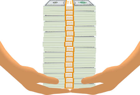 bundles: Hands lift a tall stack of dollar bills in bundles