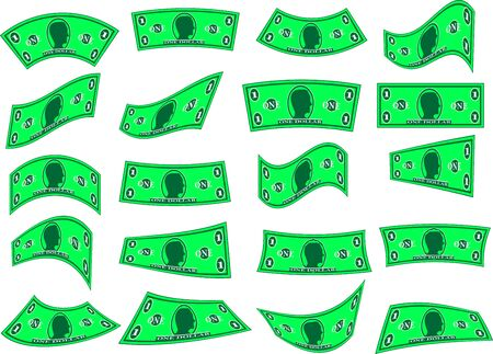 banknote: Set of Falling Vector Green Banknotes (Isolated) Stock Photo