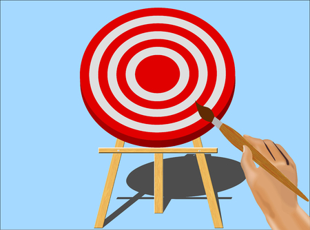 sable: Hand With Paint Brush Getting Ready To Paint on A Target Mounted On An Easel