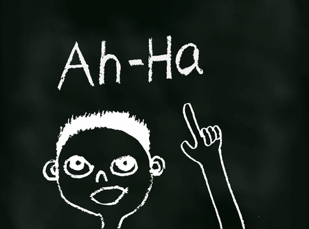 A Conceptual and Cartoonish illustration of an Ah Ha Moment on Blackboard Stock Photo