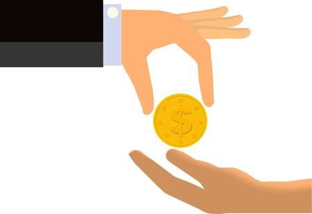 limp: Hand of a Businessman Handing Coin To The Limp Hand of Another Person