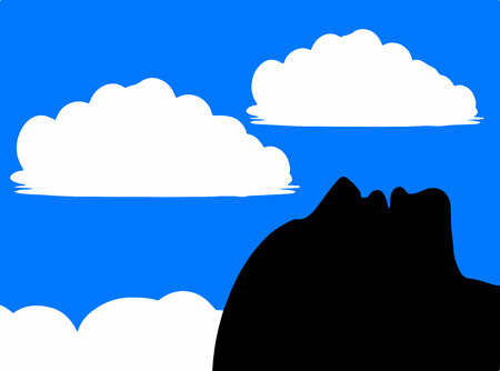 gazer: Sky gazer - An illustration of a man lying in a field and gazing up in the sky and clouds