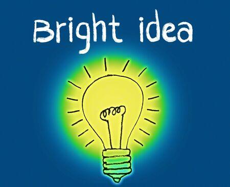 bright idea: Bright Idea Illustration showing a glowing hand-drawn light bulb and the phrase Bright Idea overhead