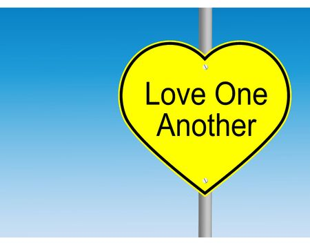commandment: Love one another yellow road sign Stock Photo