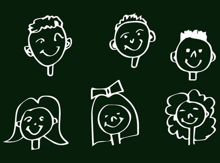 group of kids: Smiling and Happy Childrens Faces On Blackboard